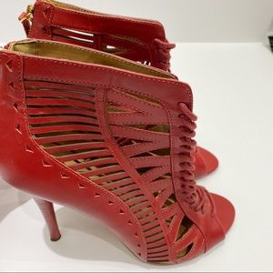 Nine West red ankle heeled booties